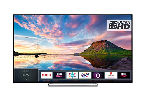 Toshiba TV 49U5863DB 49-Inch Smart 4K Ultra-HD HDR LED WiFi TV with Freeview Play - Black/Silver