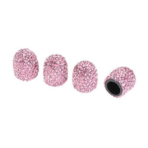 4PCS Fahrrad Zubehör für Autos Luftabdeckung (ENGL.) Radkappen (Räder) Auto Charme Zahnriemen Stem Diamond Shining Crystal Ventilkappe(pink)