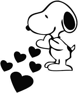 Snoopy Love Hearts - Cartoon Decal Vinyl Removable Decorative Sticker for Wall, Car, Ipad, Macbook, Laptop, Bike, Helmet, Small Appliances, Music Instruments, Motorcycle, Suitcase, 5.5