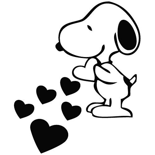 Leon Online Box Snoopy Love Hearts – Cartoon-Aufkleber, abnehmbar, dekorativer Aufkleber für Wand, Auto, iPad, MacBook, Laptop, Fahrrad, Helm, kleine Geräte, Musikinstrumente, Motorrad, Koffer