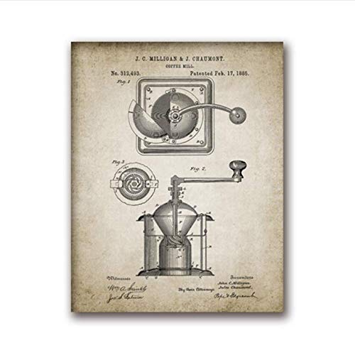 daerduotutu Coffee Making Vintage Poster Print Coffee Percolator and Coffee Bean Canvas Painting Home Decor A71 50×70CM Without Frame