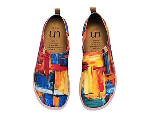 UIN Herren Wanderschuhe Reise Schuhe Slip On Canvas Casual Loafer Leichte Komfort Art Bemalt Mode Sneaker, (Color Zone), 46 EU