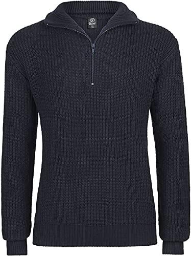 Brandit Marine Pullover Troyer Maglione, Blu Navy, XXXL Uomo