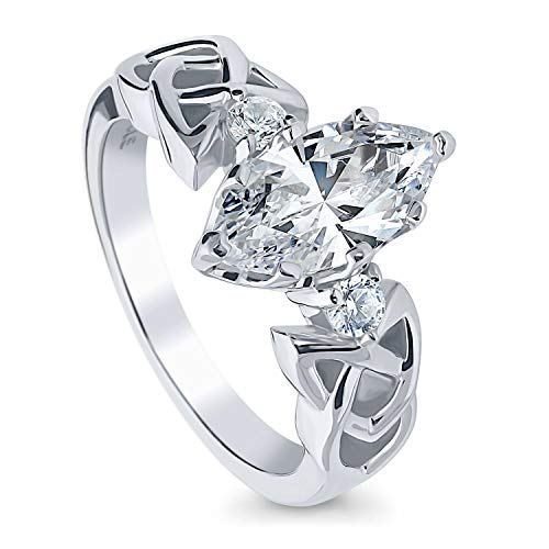 BERRICLE Rhodium Plated Sterling Silver Marquise Cut Cubic Zirconia CZ Celtic Knot 3-Stone Promise Wedding Engagement Ring 1.8 CTW Size 7