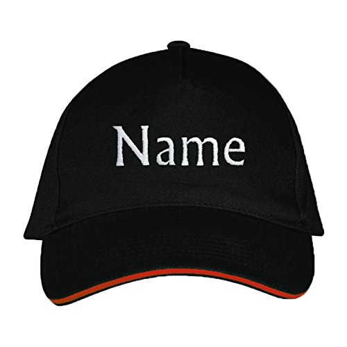 Sol's / Fassbender-Druck Basecap mit Wunschtext/Wunschname/Name Bestickt oder Bedruckt (Schwarz)