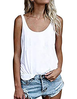 OMSJ Women Shirts Sleeveless Summer Tunic Loose Fit Tank Tops  M Solid White