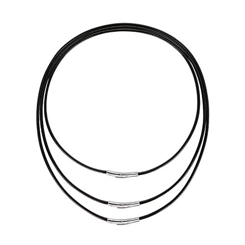Tagaremuser 3 STÜCKE Lederband Halskette 3mm Schwarz Kunstleder Halskette Braid 316 Edelstahl Verschluss Wachs Lederkette für Männer und Frauen (Schwarz)