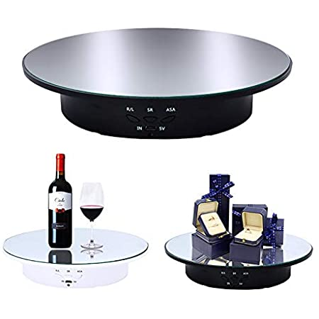 fotoconic White Electric Motorized Rotating Turntable Display Stand with LED 10