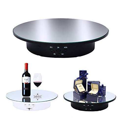 JAYEGT Motorized Rotating Display Stand Turntable, 20CM /Load 8KG, 360 Degree Electric Rotating Turntable for Photography Products Display, Jewelry, Watch, 3D Models, Battery/USB Power Supply (Black)