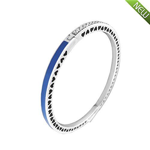 PANDOCCI 2017 Frühling-neue Prinzessin Herz strahlend blaue Emaille & klar CZ authentischer 925 Sterling Silber Armband Armband DIY Schmuck (16CM)