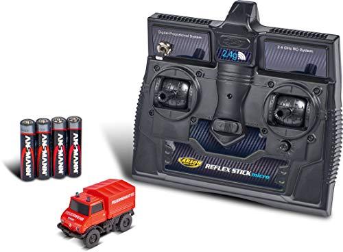 Carson 500504139 MB Unimog U406 Feuerwehr 2.4G 100 % RTR, ferngesteuertes Fahrzeug, fahrfertiges Modell, mit LED Beleuchtung und schaltbarem Blaulicht, sehr Kleiner Wendekreis, perfekt für Dioramen