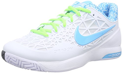 Nike Damen Zoom Cage 2 Tennisschuhe, Weiß (Weiß/Blitz-Limone/Klares Wasser 143), 40.5