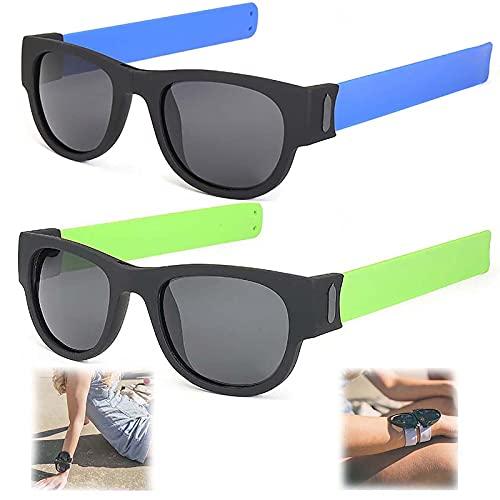 WBias&Belief 2 Paquetes Brazalete Plegable Gafas De Sol,Gafas De Sol Polarizadas Aqua Silver, Gafas de Sol Deportivas para Montar, Gafas Oscuras De Muñeca,Gafas De Sol para Hombres Y Mujeres,E