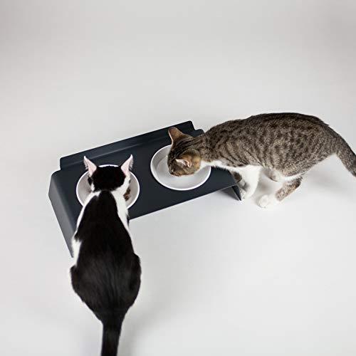 Katzen Futterstation Dine I Rutschfester Napf für Katzen I Fressnapf und Wasserstelle I Designprodukt für Katzen (Anthrazit)