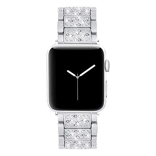 CHICAI Compatible con la Banda de Reloj de Apple 42mm 44mm Crystal Rhinestone de Las Mujeres de Lujo iWatch Pulsera de Serie Diamond 5 4 3 2 1 (Color : Silver, Size : 38mm)