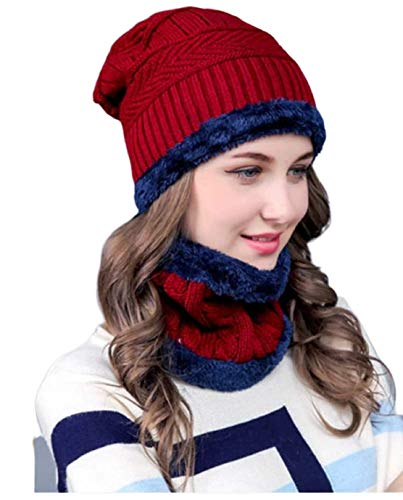 DIGITAL SHOPEE Women's Woolen Cap with Neck Muffler, Neckwarmer Set of 2 Size - Free Size (Color-Red)