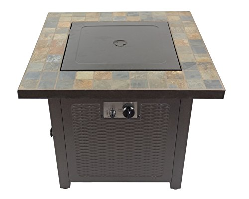 Hiland GFT-60843 High Output Propane Fire Pit, 50,000 BTU w/Amber Fire Glass Included, 30' Square, Slate Top