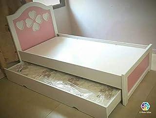 RAN-KDBD-1004 Kids Single Bed with Storage, Pink - 90 x 190 cm