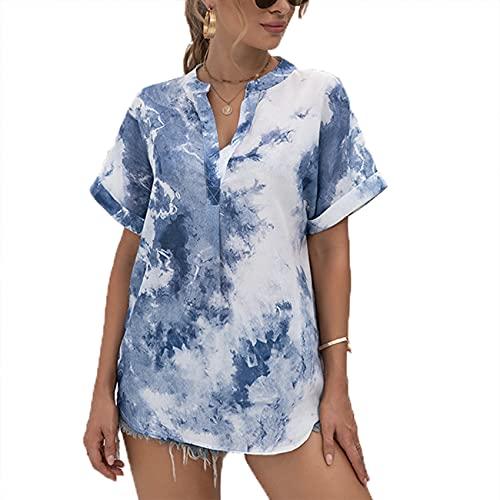 FrüHling Und Sommer Damen Casual Pullover V-Ausschnitt Tie-Dye Druck Lose Kurzarm Chiffon Hemd T-Shirt Top Damen