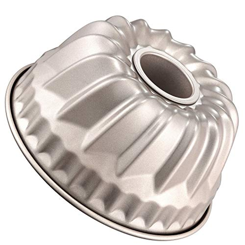 7 Inch Bundt Cake Pan, antistick Koolstofstaal Kugelhopf Mold, FDA Goedgekeurd voor Oven Bakken (Champagne Goud), Rond 7 Inch