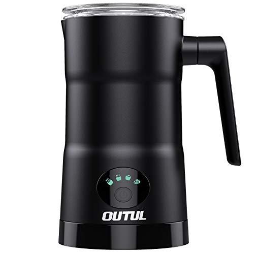 Milchaufschäumer, OUTUL Elektrisch Edelstahl Automatischer Milchschäumer mit Heißer und Kalter Milchfunktion, Edelstahlschaum-Miker für Kaffee, Latte, Cappuccino