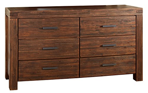 Modus Furniture 3F4182 Meadow Six Drawer Solid Wood Dresser, Brick Brown