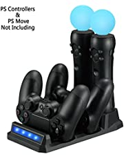 LILY PS VR / PS Move lader / controller laadstation voor PS4 / PS VR / PS Move (Dual Charger Dock voor DualShock 4 Gamepad + Dual Charge Storage Port voor PS Move), zwart