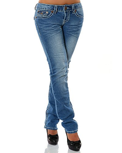 DaleusDamen Jeans Straight Leg (Gerades Bein Dicke Nähte Naht 17 Farben) No 12923, Blau , 44