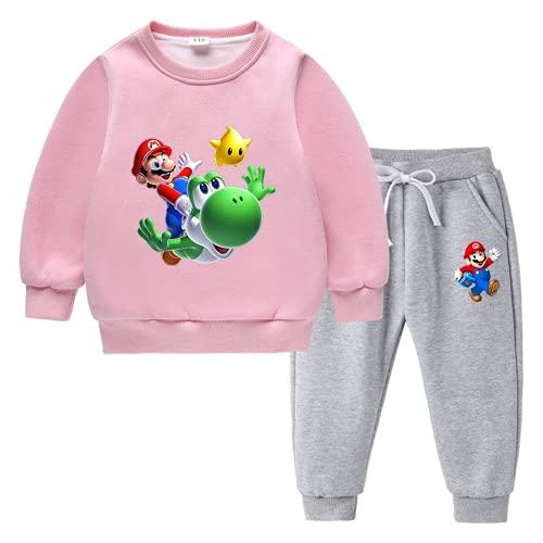 Amacigana Super Mario - Juego de suéter para niños con dibujos animados, sudadera + pantalón gris otoñal, cuello redondo con capucha, algodón, 2-8 años (rosa, 140)