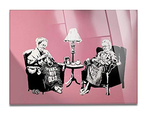 Giallobus - Schilderij - Klaar om op te hangen - Afdrukken op Acrylglas Plexiglas - Banksy - Grootmoeders - moderne schilderijen home design meubels - slaapkamer - diverse maten XXL - 100x70 cm