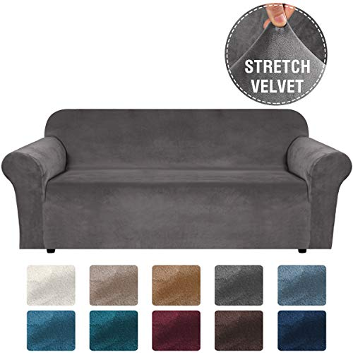H.VERSAILTEX Stretch Velvet Sofa Covers for 3 Cushion Couch Covers Sofa Slipcovers with Non Slip Straps Underneath The Furniture, Crafted from Thick Comfy Rich Velour (Sofa 72'-96', Grey)