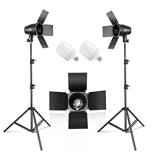 LimoStudio [2PACK] Photography Photo Studio Continuous LED Day Light Bulb Barndoor Light Stand Kit, AGG1698