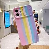 Custodia per Telefono con Protezione per Obiettivo per Fotocamera Art Oil Rainbow Slide per iPhone 11 12 PRO Max XS SE 2020 XR X 8 7 Plus Cover in Silicone TPU Morbido per iPhone 12Pro Max T1
