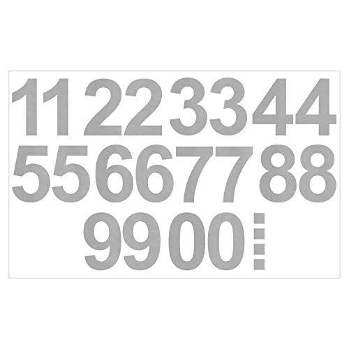 Leicht anzubringende Zahlen Aufkleber 15cm in silber glänzend - 20 HOCHWERTIGE KLEBEZAHLEN - selbstklebende Ziffern und Nummern 0-9 - Wasser und wetterfest ideal für den Außenbereich