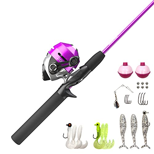 Zebco 202 Spincast Reel and Fishing Rod Combo, 5-Foot 6-Inch 2-Piece Fishing Pole, Size 30 Reel, Right-Hand Retrieve, Pre-Spooled with 10-Pound Zebco Line, Includes 27-Piece Tackle Kit, Pink