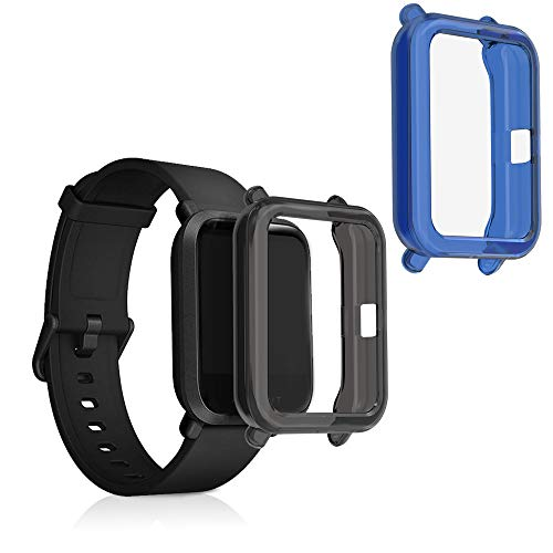 kwmobile 2 Pack de Fundas Compatible con Fitness Tracker Huami Amazfit Bip/Bip Lite - Case en Azul/Negro/Transparente