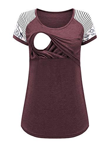 Love2Mi Camiseta de lactancia de manga corta para mujer, para embarazadas, Color rojo vino., S