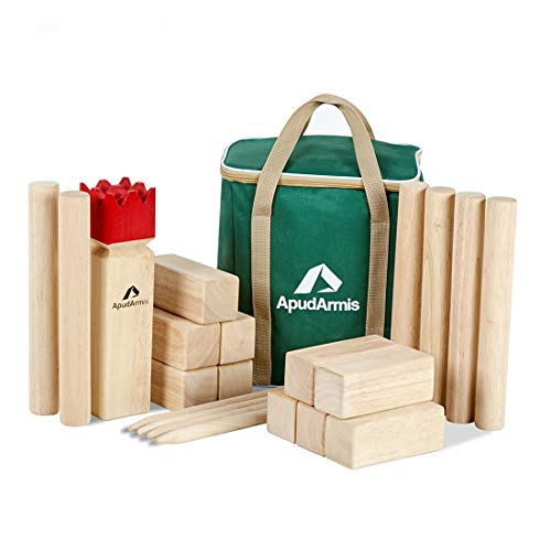 Outdoor Lawn Backyard Beach Game for Kids Adults Family ApudArmis Wooden Tossing Game Set Numbered Block Toss Games Set with Scoreboard /& Carrying Case