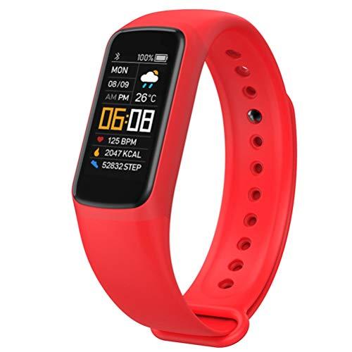 WUHUAROU Reloj de Pulsera Inteligente Hombres Mujeres Presión Arterial Pulsera de Fitness Frecuencia cardíaca Actividad Impermeable Smartband (Color : Red)