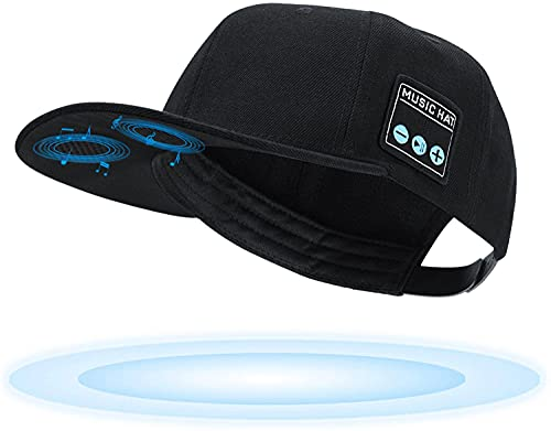 TOUCH TWO Wireless Bluetooth 5.0 Speaker Hat/Cap with (Inbuilt Microphone) Wireless Smart Speaker Hat/Cap for Outdoor/Indoor Sports. Best Gift for Men/Women/Boys/Girls (Black)