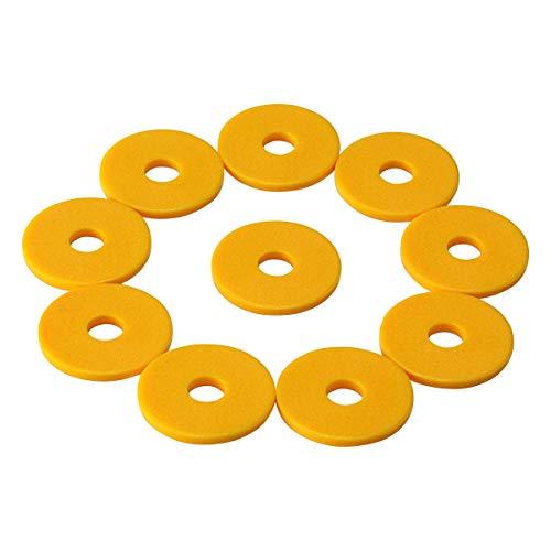 100 Einkaufswagenchips mit 6mm Loch EKW Pfandmarken Wertmarken Farbe Gelb + 3 Chiphalter für Schlüsselbund von SchwabMarken