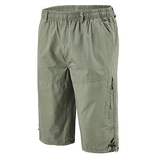 Overdose Pantalones Cortos para Hombre Verano, Cintura elástica Pantalones Cortos de algodón con múltiples Bolsillos Pantalones Cortos Pantalones Deportivos más Pantalones Casuales