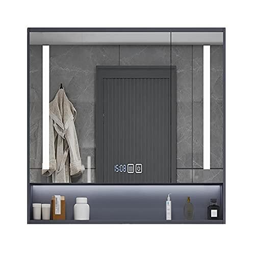 XIAOQIAO LED Iluminado Baño Armario con Espejo, Espejo Antivaho con Calefacción Montado en la Pared para Carga de Afeitadora Cosmética de Maquillaje