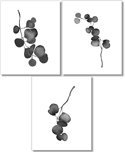 Black & White Wall Art - Eucalyptus Botanical Prints - Watercolor - Modern Farmhouse