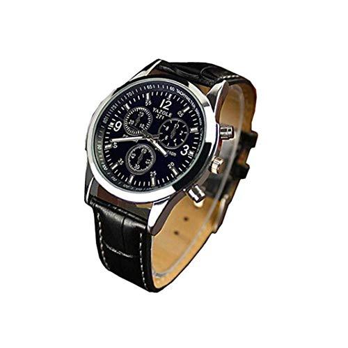 Ohomr Reloj de los Hombres, Reloj de Cuarzo analógica con Cuero Brazalete Simple Cristal Azules Reloj de Pulsera Tres Ojos Casual Reloj -Negro