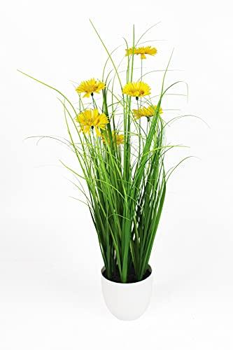 Künstliches Gras 50 cm mit gelben Gänseblümchen Dekogras Kunstpflanze KP770