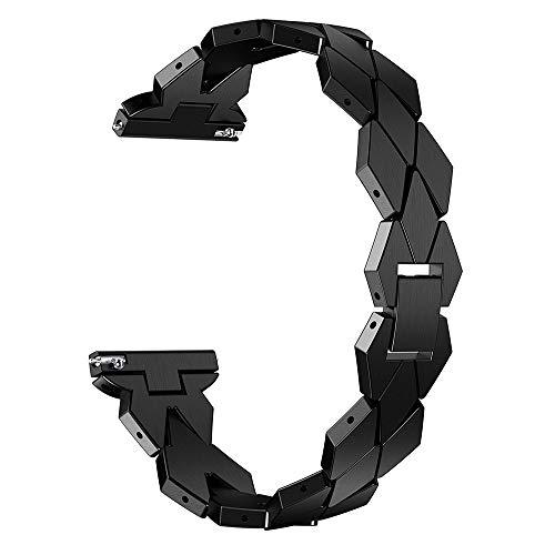 XIALEY Correa Ajustable De Acero Inoxidable para Fitbit Versa 2 / Versa/Versa Lite Banda De Reloj De Pulsera De Metal, Accesorios De Repuesto Brazalete Elegante Straps De Reloj De Cadena,Negro
