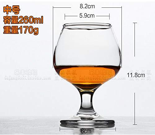 Luxury glass Brandy Cup met hoge voet, korte rode wijnbeker, fijne cognac-beker, loodvrije glazen beker met grote buik, 260 ml, middenmaat 4