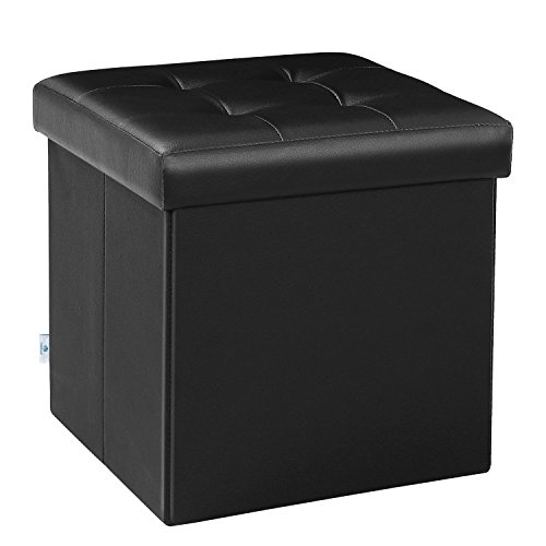 "B FSOBEIIALEO Folding Storage Ottoman Footrest Stool Faux Leather Seat Chest 12.6""X12.6""X12.6"", Fso-baby-black"