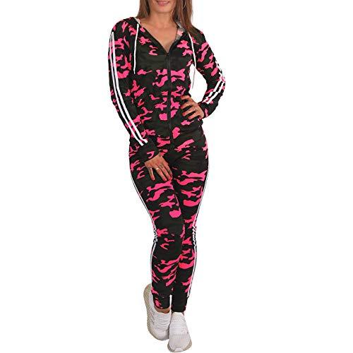 C.G 2tlg Neon Camouflage Trainingsanzug Jogginganzug Kapuze Sportanzug Hausanzug P087 (Pink, S/M = XS/S)